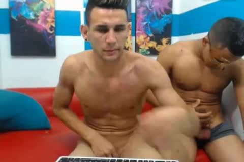 three Colombian yummy males fuck On cam
